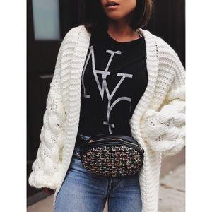 Handbags - 🆕Jaden Black & Tweed Vegan Leather Belt Bag